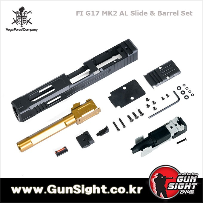 VFC FI MK2 G17 Aluminum RMR Slide & Barrel Set for Umarex / VFC Glock 17 G17 Gen3 GBB Pistol Series ( Licensed by FI )