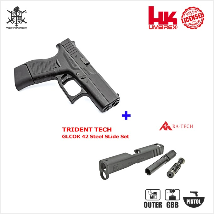 Umarex Glock42 GBB Pistol (by VFC) 핸드건with TRIDENT TECH G42 Pistol Steel Slide & Barrel Set 패키지