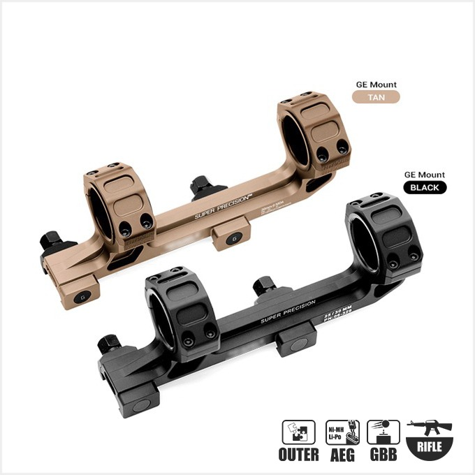 One piece bubble level picatinny rail dual ring mount offset for scope mount [BK / TAN ] - 색상선택